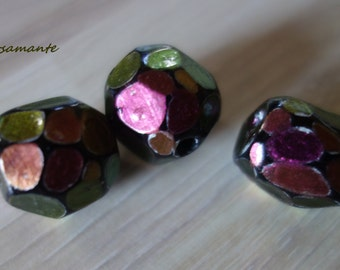 """Dragon Stone"" pink-bronze iridescent polymer beads"