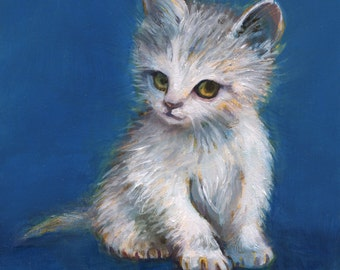 Kitten Wall Art, Shy White Kitten, Kitten Painting, Oil Painting, Cat Art, Kitten Art, Original Cat Art, White and Blue