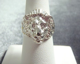 Sterling Silver Lion Head Ring RR1