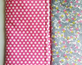 Set of (2) Handmade burp cloths polka Dot's/ floral