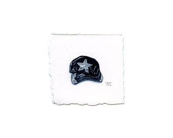 Tiny Realistic Roller Derby Helmet Cover Watercolor Painting
