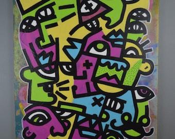 "Sovereign City  24 x 36"" original urban expressionism graffiti street art"