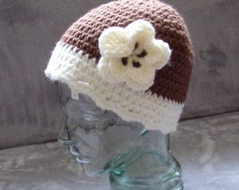 Downton Abbey Style Crochet Hat - brown and cream