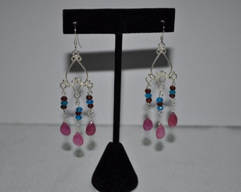 Stunning Pink Topaz, Blue Apatite, Garnet and Sterling Silver Earrings
