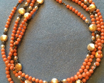 Coral and pearl 4 strand necklace
