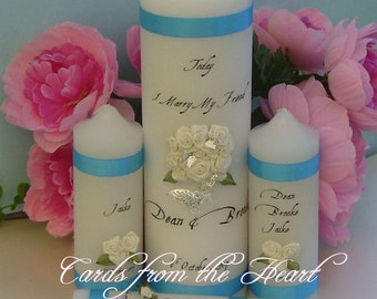 Personalised 3D 5 pc Unity Candle Set - Wedding BRIDAL Ceremony customised Commitment unique engagement ceremony