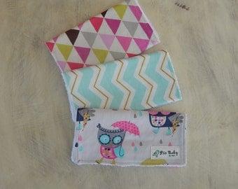 Baby shower gift, Set of 3 Burp Cloths, baby girl burp cloths, owl baby, modern burp cloth set