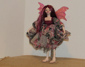 "OOAK Art Doll, Fantasy Creature, Polymer Clay Sculpture, 14"" Tall Handmade Fairy, ""Felicity"" by ds hahn"
