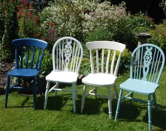 The Delft Set   A set of 4 Vintage mismatch handpainted,  farmhouse chairs