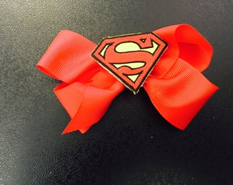 Superman, superman hair bow, superman bow,