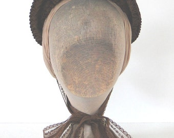 1880's Reproductions Brown Satin Bebe Bonnet trimmed with lace