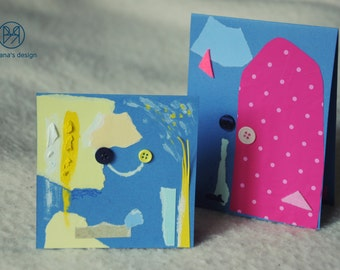 Blue infinities - Set of 2+1 handmade postcards, blue vibes, paper and cardboard, abstract collages