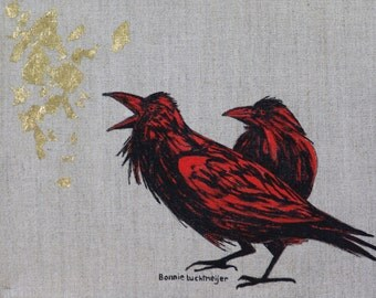 "Original Framed 8x10 acrylic on linen with gold leaf ""Crow & Leaf"" By Bonnie Luchtmeijer"
