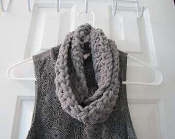Crochet Casual/Formal Cuddly Gray Cowl Ready to Ship