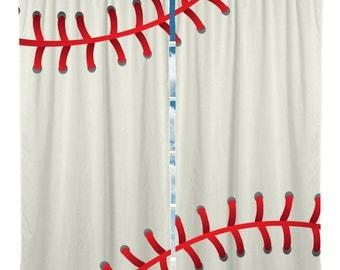 Baseball Window Curtain or Valance Custom Made, Baseball Theme Window Curtains or Valances with Monogram or name added