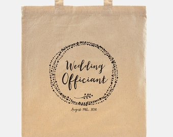 Wedding Officiant gift - Tote Bag - 100% cotton goodie bag customized with your wedding date