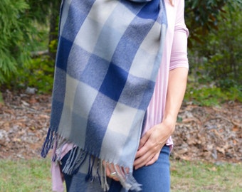 Navy Blue Plaid Fringe Scarf