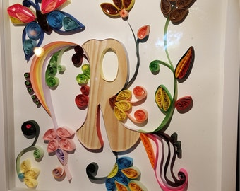 Paper Quilling. Letter R.