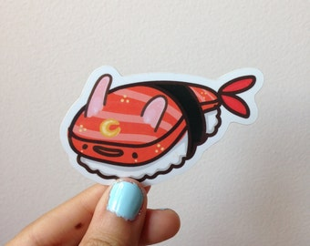 "Kawaii Bunny Shrimp Nigiri Sushi - 2.8"" x 1.7"" Vinyl Sticker"