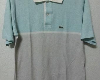 MEGA SALE Vintage 70's Izod LACOSTE Pastel Color Block Polo Shirt M Usa