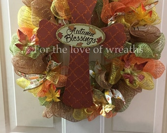 14in deco mesh fall blessings wreath
