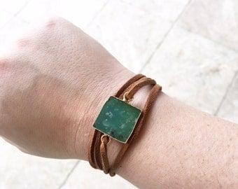 Square Stone Wrap Bracelet