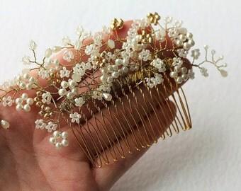 Gold wedding comb, beaded wedding comb, tiara comb, wedding hair piece, gold decorative comb, pearl comb, bridal comb, hair accessory