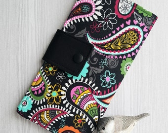 Paisley Floral Womens wallet, Slim clutch credit card wallet, handmade fabric wallet, checkbook wallet, money wallet, womans gifts