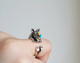 Rhino ring, Custom Colored Animal Wrap ring, Birthday Gift