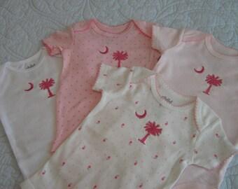 Palm & Moon Onesie / Pink Short Sleeved Onesie