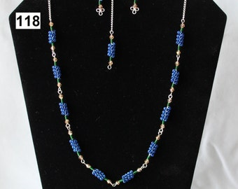 A Blue and Green Coiled Wire Necklace and Matching Earring Set, Wire-Work, Light Smoked  Beads and Silver Coloured Chain, Silver Coated Wire