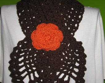Brown scarf with a rose (orange)