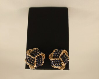 Ribbon Design Gem Earrings