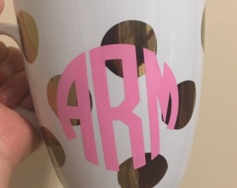 Monogrammed Jumbo Gold Polk a dot mug - cute mug - personalized mug - monogram lover
