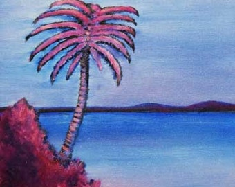 Myrtle Beach Palm Tree, SC, Seascape with Palm Tree Glossy Inkjet Print from original Oil Painting by Rick Fry. Free Shipping.
