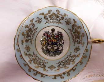 Paragon Tea Cup and Saucer 1959 Paragon Commemorative CANADA Blue Queen Elizabeth  Royal Family  Canadian  Royal Family Visit