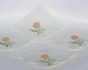 Napkins  Hand embroidered Napkins.  Set of 4.  White with Pink and green accents