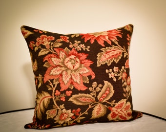 """Coral Brown Floral Decorative Square Throw Pillow Cushion Cover, 18""""x18"""" Inch"""