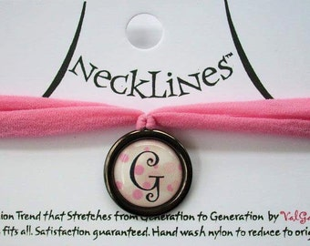 Pink Polka Dot Initial Necklace