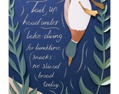 Duck - Art Print // Papercut Print - A4. Part of Feathers & Fur illustrated poetry series. Words by Emily Koch, illustration by Sarah Dennis