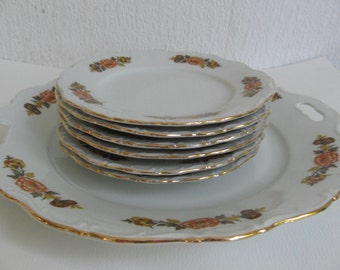 Vintage Seltmann Weiden Bavaria cake plate and 6 signs/Vintage pastry plate, 6 little cake plates Seltmann Weiden Bavaria