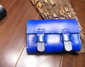Cross body bag/ purse/blue  leather cross body purse/free shipping