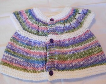 Baby Sweater - Sage/Purple/Pink/Blue trimmed in white, with dark purple buttons