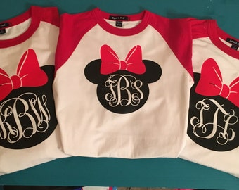 Minnie Mouse monogram raglan