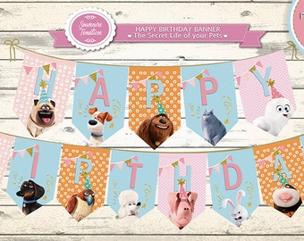 The Secret Life of PETS Birthday Banner-GIDGET- PERSONALIZED