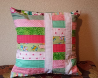 Handmade Patchwork Quilted Pillow