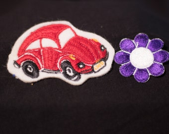 VW Bug and Purple Flower Patch