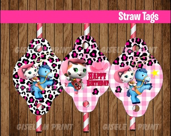 Sheriff Callie's Wild West Straw Tags, Printable Sheriff Callie Straw toppers, Sheriff Callie party Straw Tags instant download