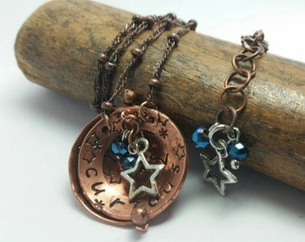 Curious - Hand Stamped Copper Necklace