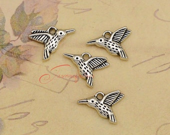 40PCS--16x12mm ,Hummingbird charms, Antique Silver double side Lovely Bird Charm Pendant , DIY supplies,Jewelry Making JAS7215D